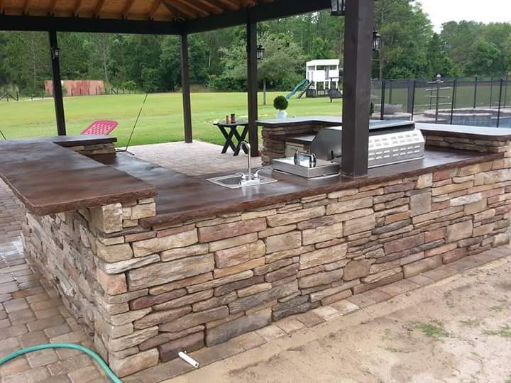 2015 End of Summer Photo Contestant - Carolina Masonry's Outdoor Kitchen Countertop Featuring Direct Colors Coffee Brown Acid Stain and Sprayable Satin Finish Sealer