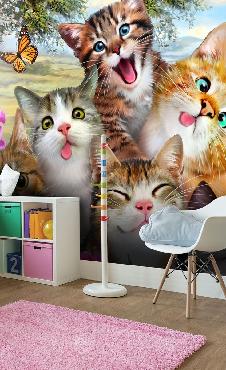 Say Cheese This Cute Cat Selfie Can Now Feature On Your Wall Great For Kids Bedroom T Cat Themed Bedroom Childrens Bedroom Wallpaper Kids Bedroom Wallpaper