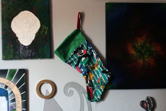 Power Rangers Christmas stocking // SALE  OLD by HELLHOUNDdesign