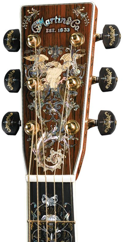 Larry Robinson's inlay in the headstock and fingerboard of the millionth Martin guitar. Courtesy C.F. Martin and Co.,