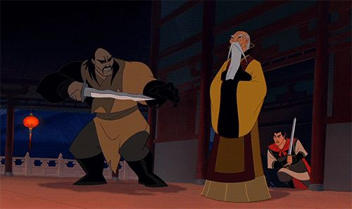 • gif funny disney meme MY EDIT cartoon animation gif set Mulan original post Disney Princess shang Emperor of China Shan Yu walt disney studios huns ...