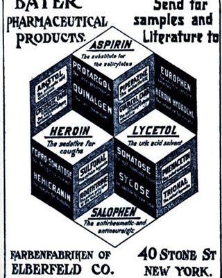 6/3/1899: #Bayer registra come marchio il nome #Aspirina per l'acido acetilsalicilico. L'acido acetilsalicilico era stato sintetizzato per la prima volta nel 1853 da Gerhardt, ma alla Bayer registrarono il nome dopo aver trovato un modo nuovo di sintetizzare l'acido nel 1897, grazie a Hoffmann. Nell'immagine: pubblicità d'epoca di diversi famosi prodotti Bayer, tra cui l'#Eroina, evoluzione della #morfina, perfetta come cura per la tosse! Provatela! #storia #droga #storiadelledroghe