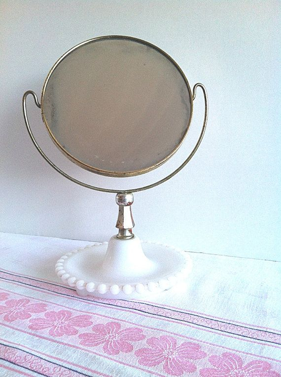 Vintage Hobnail Milk Glass Vanity Mirror Two Sided Magnification by NonabelleVintage Nonabelle ...