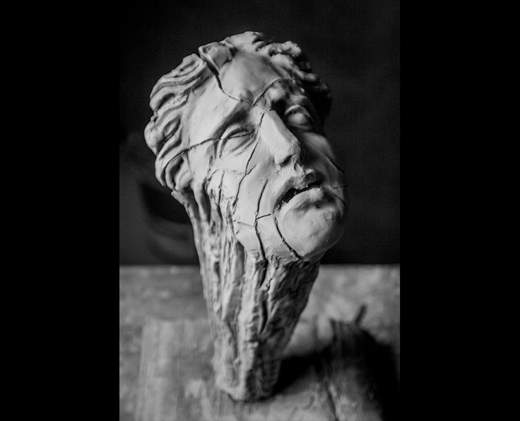 Michal Jackowski, SCREAM OF EARTH, terracota, 2016  #sculptures #body #artact #humans #antique #pinart #creative #passion #love #art #classic #face #exhibition #polishart #head #scream #earth