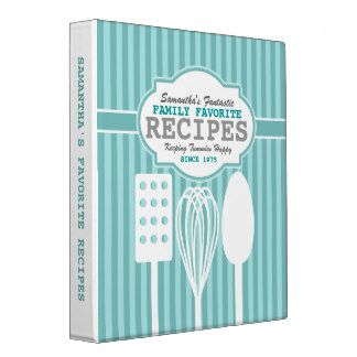 Trendy Retro Recipes Personalized Binder
