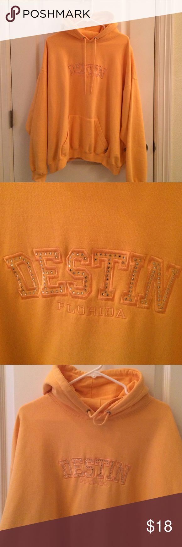 Hoodie jacket Very light orange pullover hoodie with Destin in stones on front. Tops Sweatshirts & Hoodies