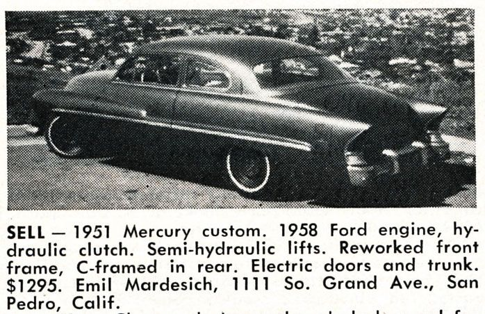 For Sale Emil Mardesich S 1951 Mercury Mercury San Pedro California How To Find Out