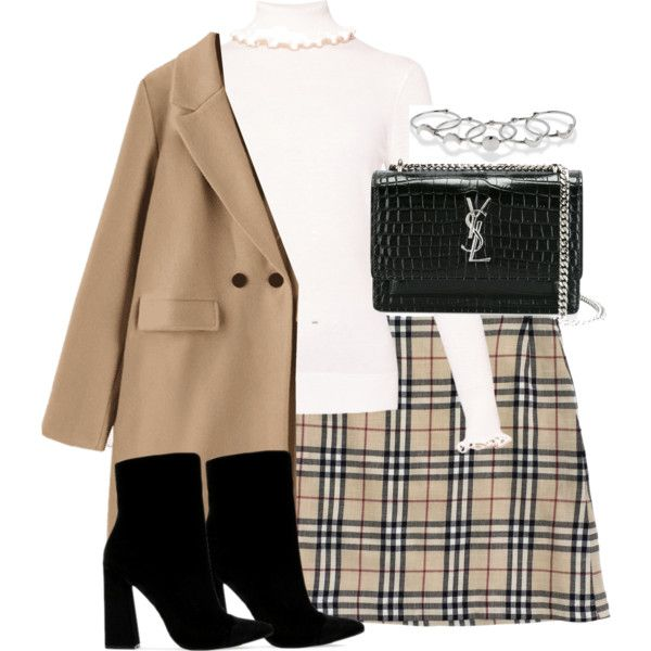 A fashion look from January 2018 featuring Burberry skirts, Public Desire boots and Yves Saint Laurent wallets. Browse and shop related looks.