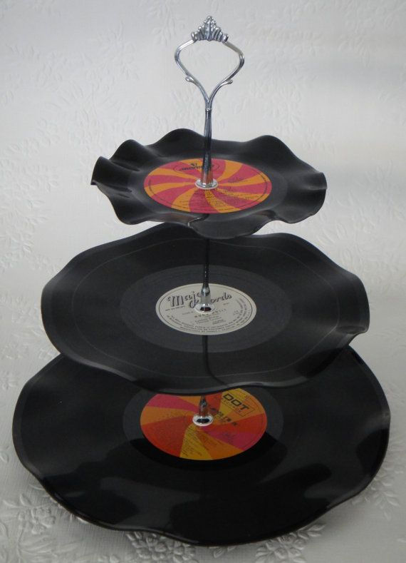 3 Tier  Record Cup Cake Stand - Retro Rockabilly Wedding - by myEroom, $20.00: Old Records, Records Cups, Rockabilly Wedding, Retro Rockabilly, Cupcakes Holders, Cups Cakes, Cupcakes Stands, Vinyls Records, Records Cakes