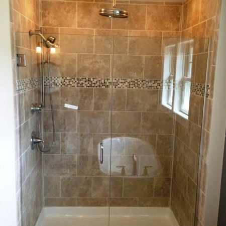 I Like The Larger Tiles With The Small Accent Strip Not The Color Master Bath Bathroom