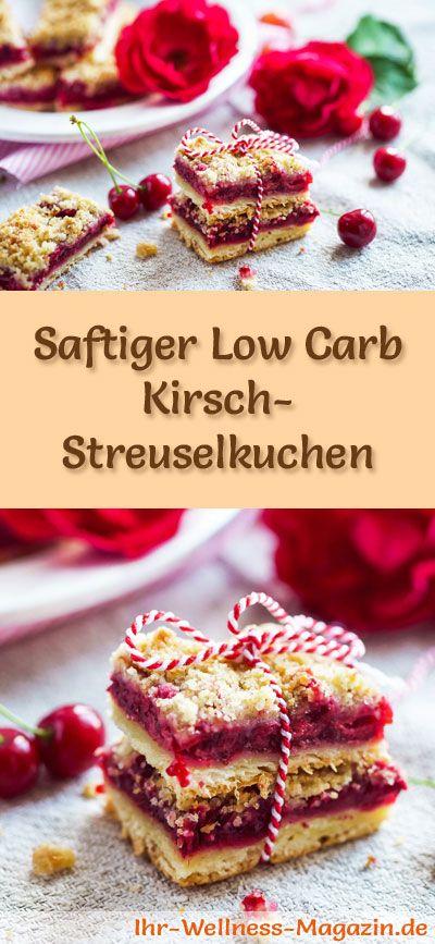 Rezept für Low Carb Kirsch-Streuselkuchen - kohlenhydratarm, kalorienreduziert, ohne Zucker und Getreidemehl