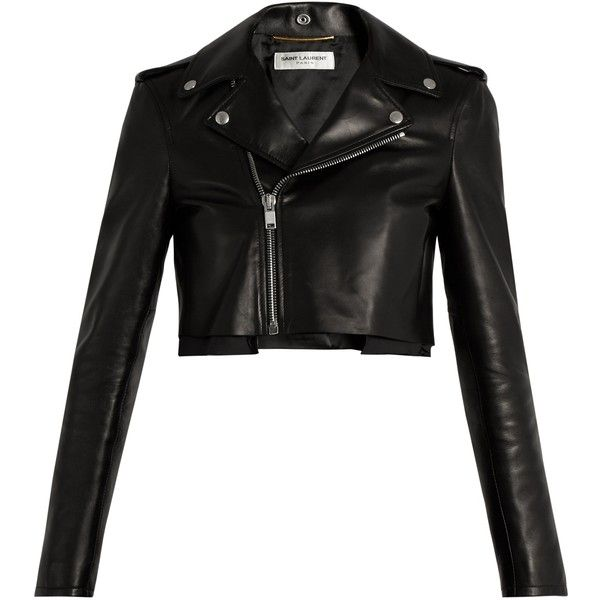 Saint Laurent Cropped leather jacket ($3,950) ❤ liked on Polyvore featuring outerwear, jackets, black, cropped motorcycle jacket, leather moto jackets, cropped jacket, real leather jackets and tailor leather jacket