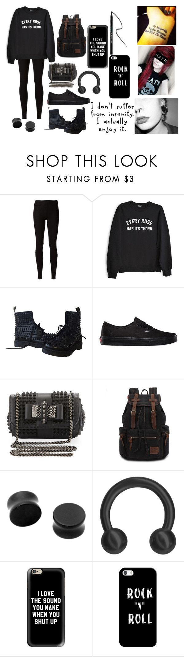 """Every Rose Has It's Thorn"" by abipatterson ❤ liked on Polyvore featuring Rick Owens Lilies, Private Party, Dr. Martens, Vans, Christian Louboutin, Hot Topic, Casetify, Sephora Collection and Albino"