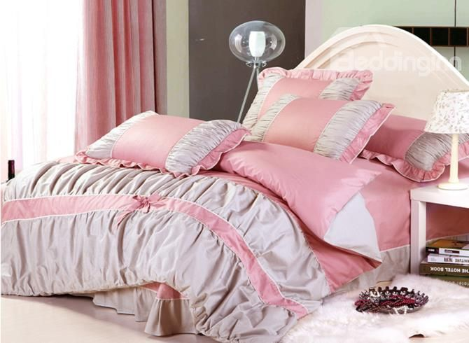 Dot Bowknot Lace Edge 4 Piece Pink and Grey Cotton Bedding Sets on sale, Buy Retail Price Cotton Bedding Sets at Beddinginn.com