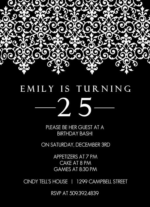 Birthday 25th Invitation Wording Your Bewitching Invitations Will Be More Elegant 12