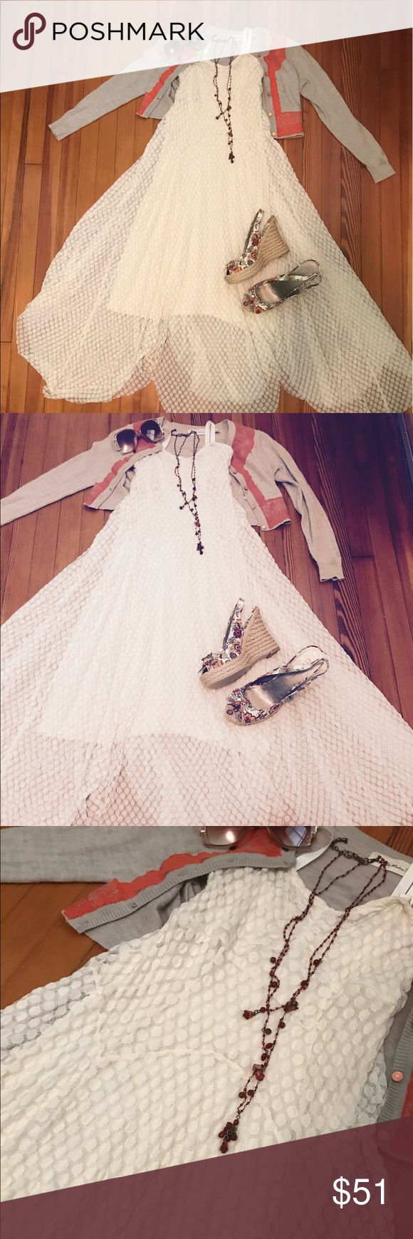 Ethereal Free People Maxi Dress Gauzy Free People Maxi dress with handkerchief hem. Dress is fully lined with removable straps so it's easy to dress it up or down. The fabric has stretch so it will Fit and flatter any body shape! Free People Dresses Midi