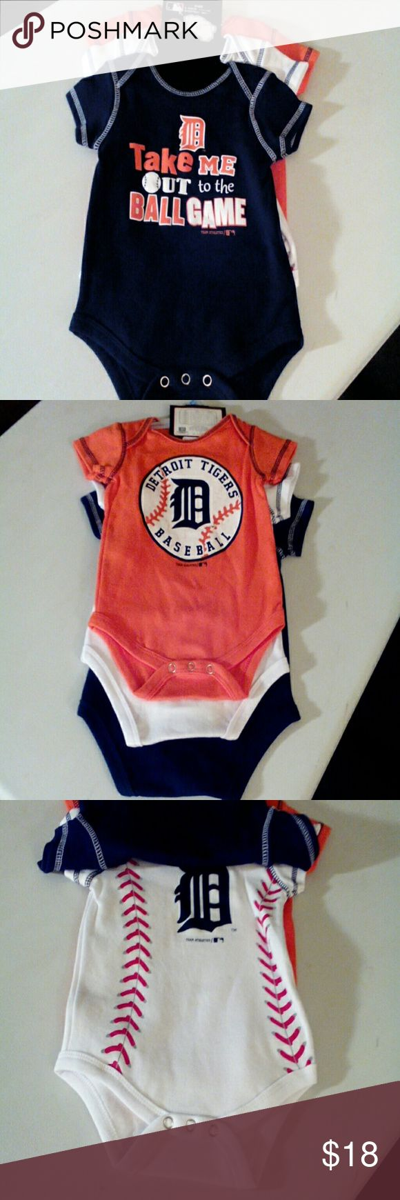 MLB Detroit Tigers Kids Onesies (3 piece set) NWT, 3 piece set, absolutely cute!  Orange, White and Navy., 3-6 month. MLB One Pieces Bodysuits