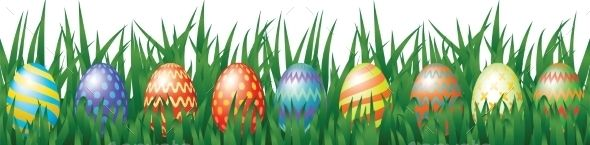 Easter Eggs by Prikhnenko Border for Easter design with eggs hidden in grass. Vector illustration, fully editable, vector objects separated and grouped. Edi