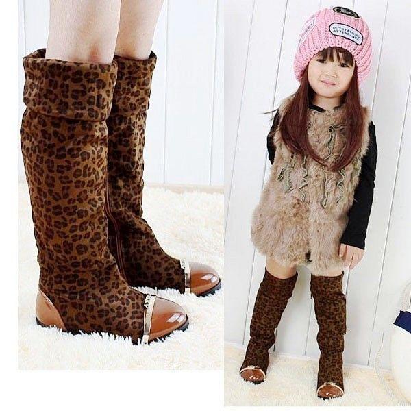 Детская обувь девочка 2016 осень и зима обувь более - более-сапоги принцесса леопарда сапоги обувь для девочек