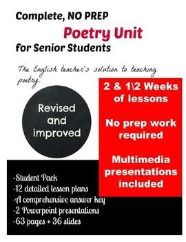 2 and 1\2 weeks of poetry lessons done for you. Includes student notes and poems, a teacher guide with detailed lessons, a comprehensive answer key, and an end of unit evaluation with evaluation grid and answer key.