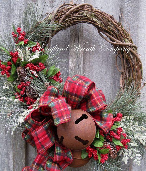 Christmas Wreath Holiday Wreath Sleigh Bells by NewEnglandWreath