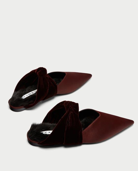 VELVET BACKLESS SHOES WITH BOW from Zara