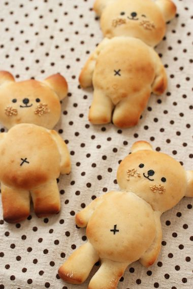 Adorable bear buns almost too cute to eat.
