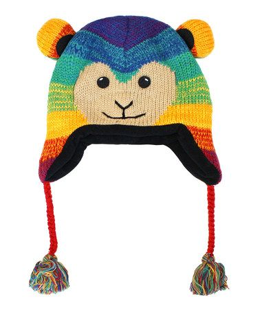 Take a look at this Rainbow Monkey Wool Pom-Pom Beanie by Kyber Outerwear on #zulily today!