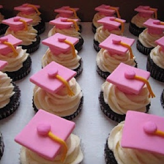 Pink graduation party cupcakes