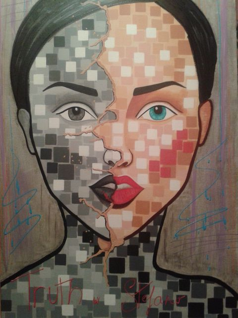 Truth by STEFANO acrylic on canvas fashion art 2015 acrylic,painting,portrait,painter,fashion,fashion art,art,fineart,model,face,modernpainting,artist,paint