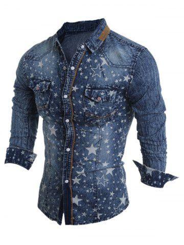 Vuelta-Abajo Modelo de estrella del collar del blanqueo de lavado de manga larga Camisa vaquera para los hombres