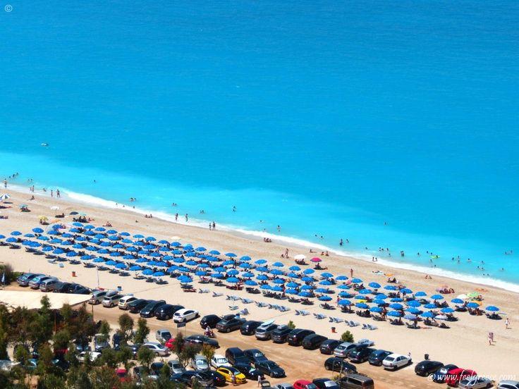 The peculiar blue color of the sea at Kathisma, beach on the northwestern coast of Lefkada
