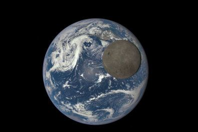 This series of images showing the moon moving over the Pacific Ocean near North America was taken by the Deep Space Climate Observatory between 3:50 p.m. and 8:45 p.m. Eastern time on July 16.