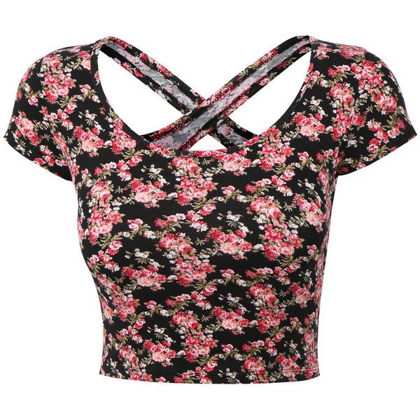 Womens Lightweight Open Back Scoop Neck Floral Crop Top with Stretch ($8.84) found on Polyvore featuring tops, shirts, crop tops, blusas, black shirt, short sleeve shirts, black scoop neck top, open back top and floral crop top