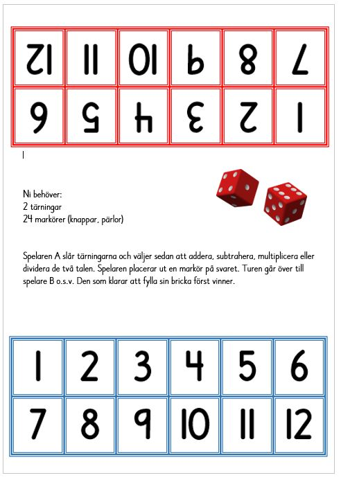 Fyll brickan - ett enkelt spel där du använder addition/subtraktion eller alla fyra räknesätt.