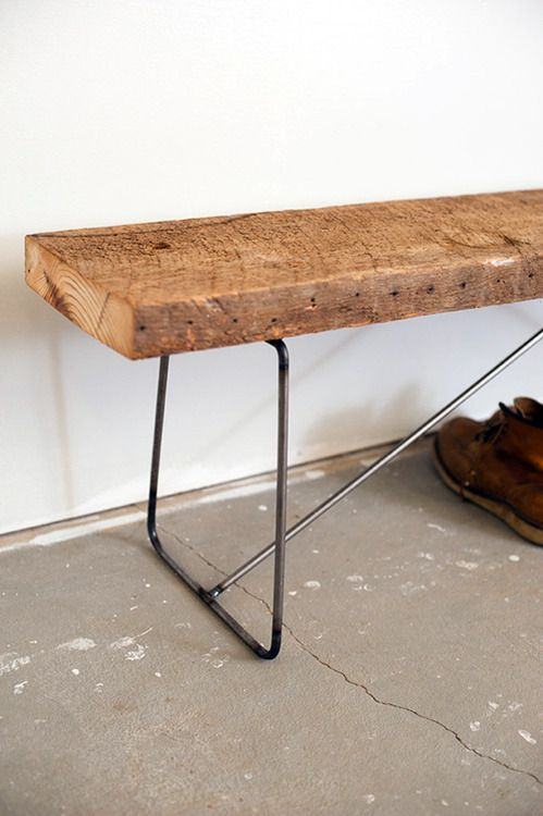 plank bench with metal frame