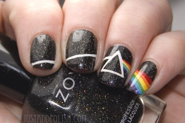 Pink Floyd nail art... There is no dark side of the moon, really. Matter of fact, it's all dark...