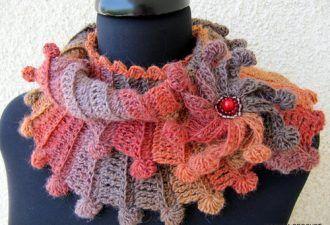 Красивый объемный «плетеный» шарф