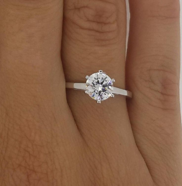 Elegant 1 Ct Round Cut Diamond VVS1 14K White Gold Women Engagement Ring  #GoldJewellery17 #Solitaire