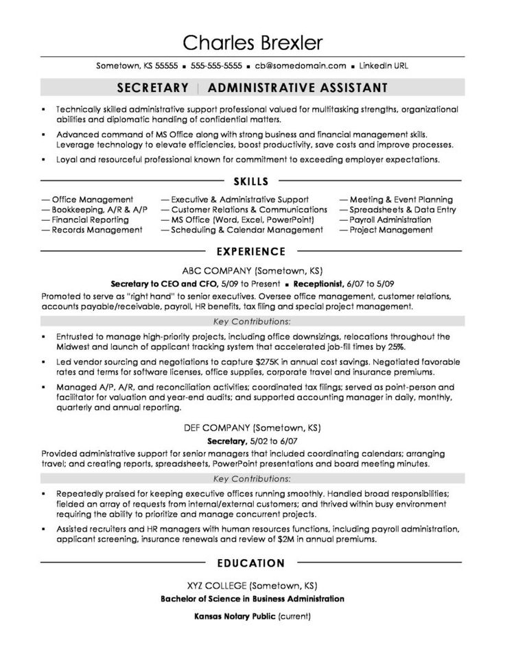 Secretary Resume Sample Monster within How To Find A