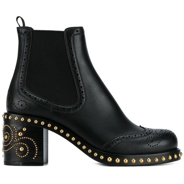Miu Miu studded Chelsea boots ($1,500) ❤ liked on Polyvore featuring shoes, boots, ankle booties, ankle boots, black, chelsea bootie, beatle boots, chelsea boots, chunky booties and black studded boots