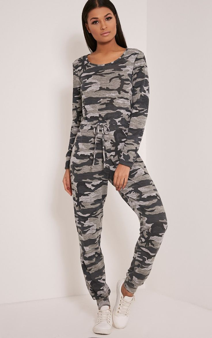 Lottie Grey Camouflage Long Sleeve Casual Jumpsuit Image 1