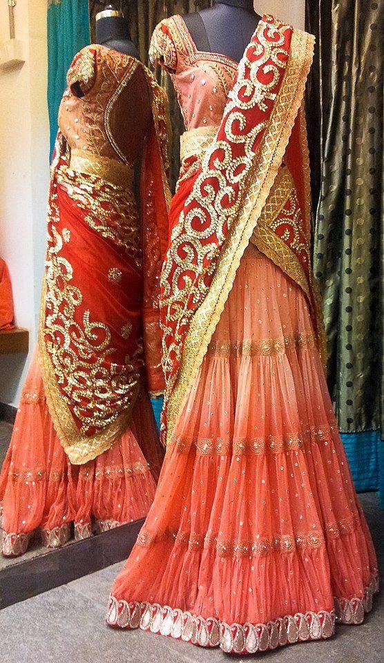 Bindu madhavi in half saree designed by Bhargavi Kunam