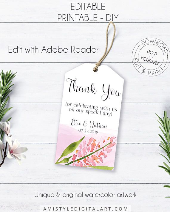 Whimsical Wedding Thank You, with a bright and unique watercolor flower in whimsical and boho style.This nice wedding thank you tag template is an instant download EDITABLE PDF so you can download it right away, DIY edit and print it at home or at your local copy shop by Amistyle Digital Art on Etsy