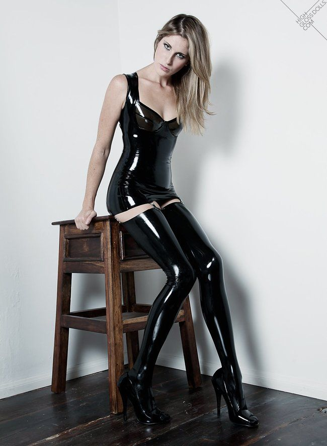 Amateur latex pvc corset and stockings moved front