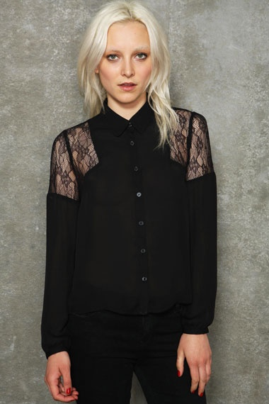"""Pins & Needles Lace Shoulder Blouse - """"Massively reduced and an absolute steal, plus its also available in ivory."""" Buy now: http://tidd.ly/7a05eb79"""