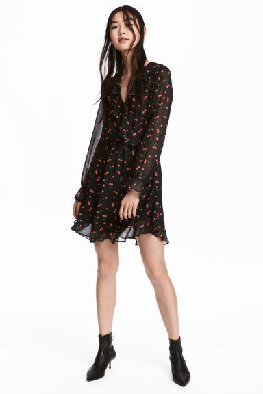 Wrap dress - Black/Cherries - Ladies | H&M GB 1
