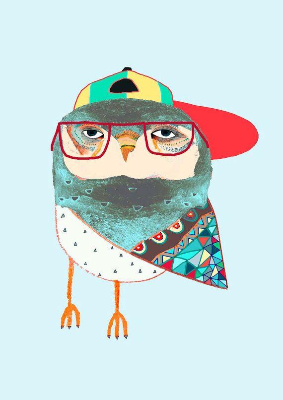 Hat Owl. Awesome children's illustration, kids art print, poster.