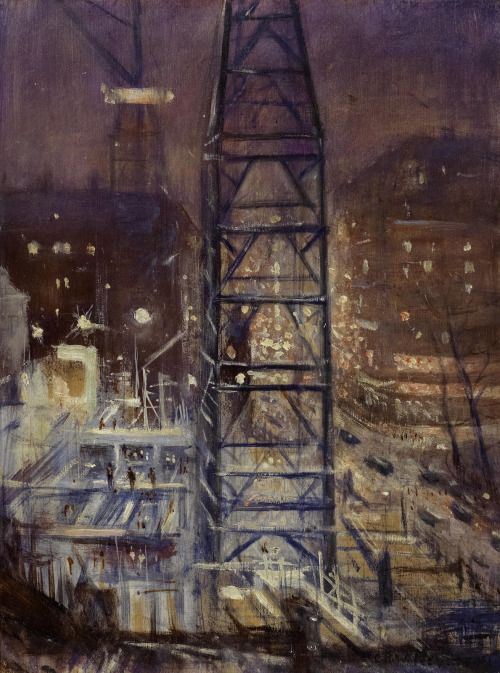 """thunderstruck9:  """" Christopher Richard Wynne Nevinson (British, 1889-1946), N.C.B. Building in Progress. Oil on panel, 40.4 x 30 cm.  """"  The National Coal Board headquarters in Berkeley Square opened in 1947, so presumably this was painted in the..."""