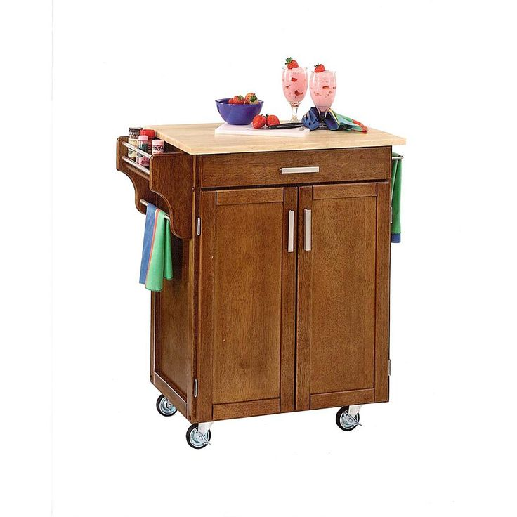Home Marketplace Small Kitchen Cart - Cottage Oak with Wood Top